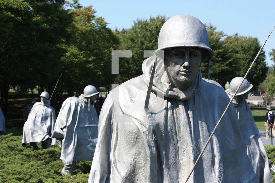 Statues of army soldiers; Korean War Memorial in Washington D.C.