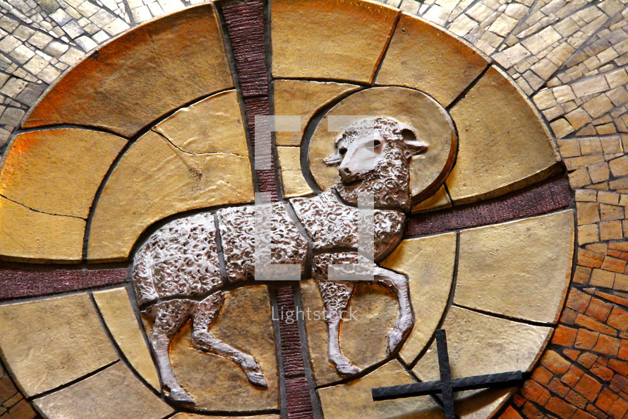 Mosaic mural depicting the Lamb of God