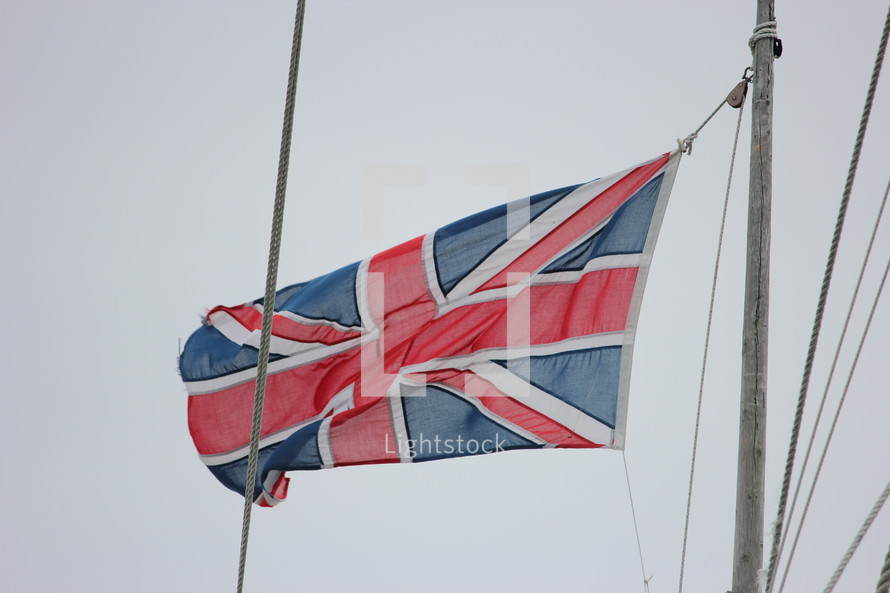 British flag flying from as mast.