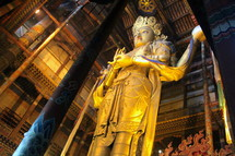 Golden stature of Budha in Mongolia