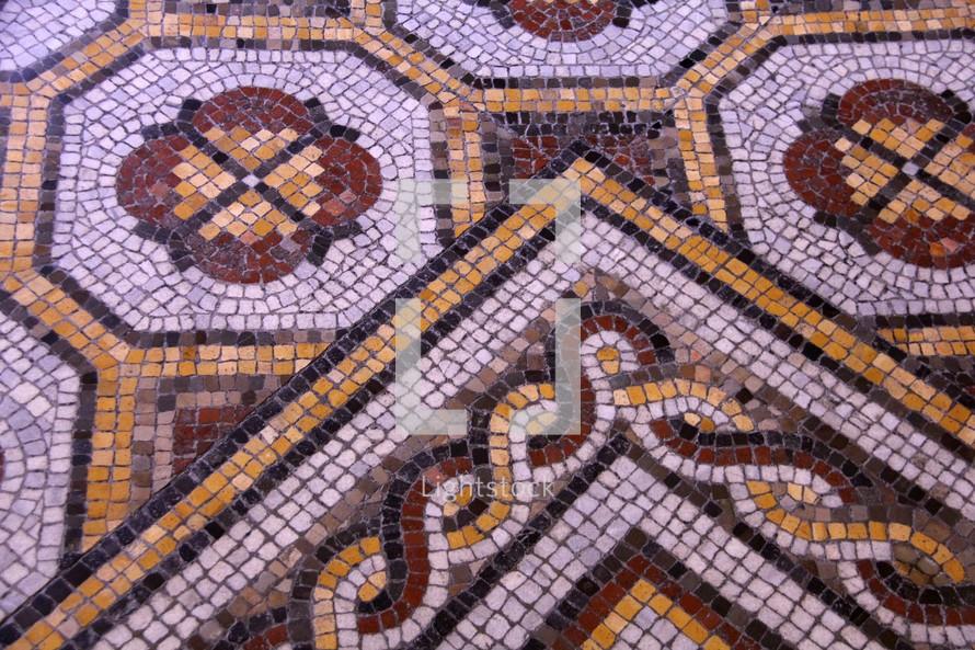 Mosaic tiles from a Roman villa