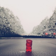 gummy bear on a dashboard