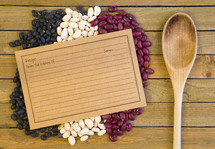 dried beans and recipe card