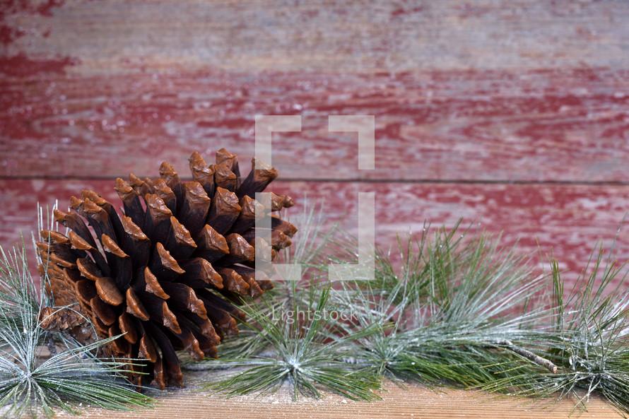 pine cone and greenery