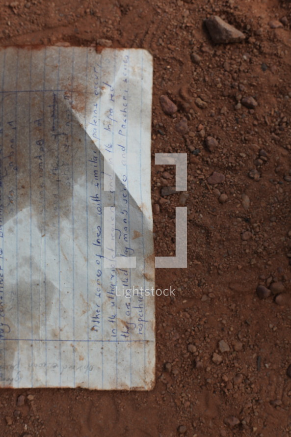 letter on the ground