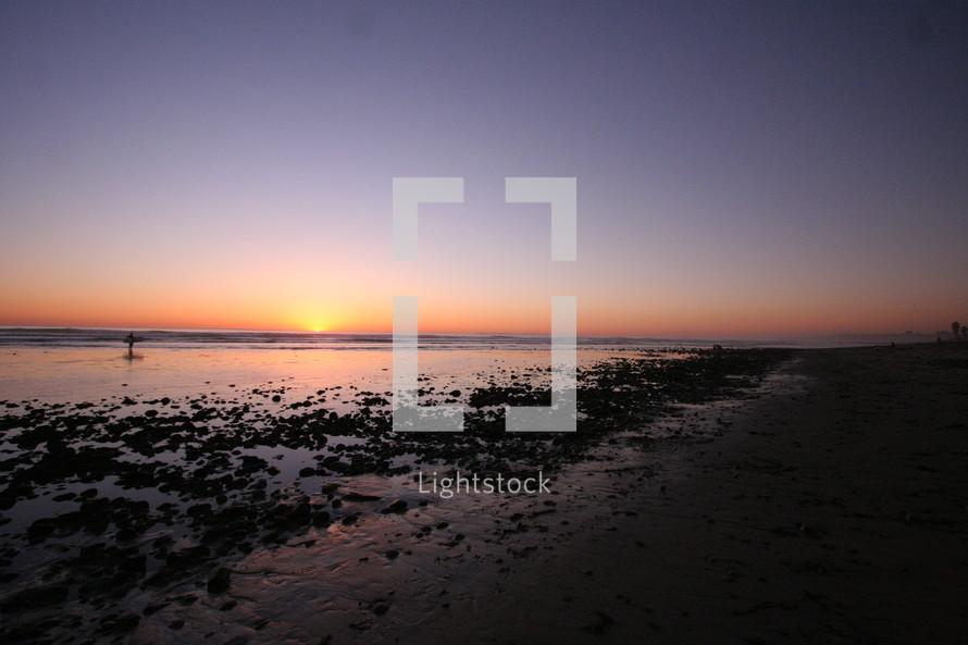 tide leaving on a rocky beach