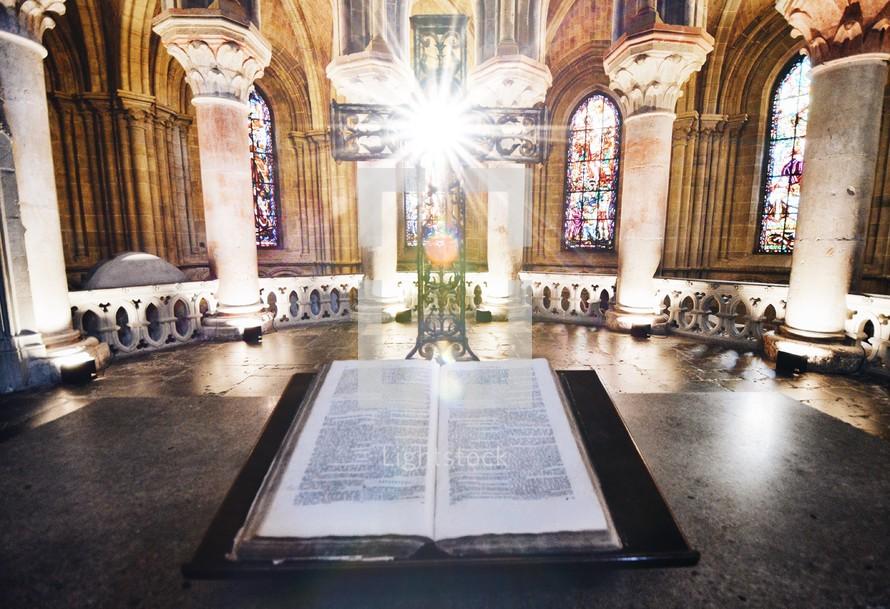 Bible on an altar