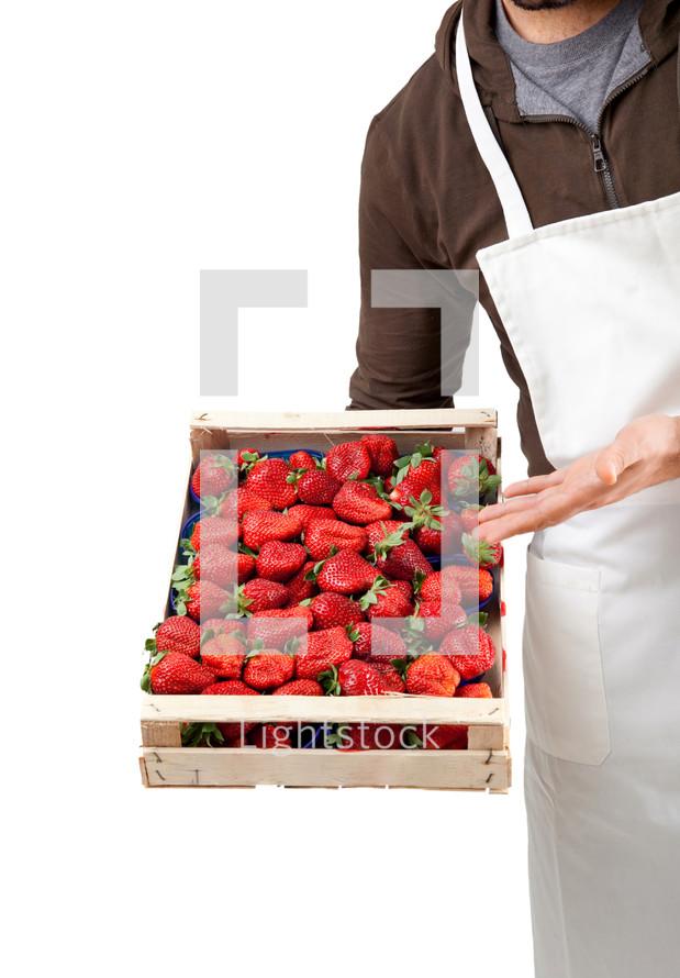fresh strawberries in wooden box