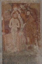 Ancient wall painting of Jesus in Prayer