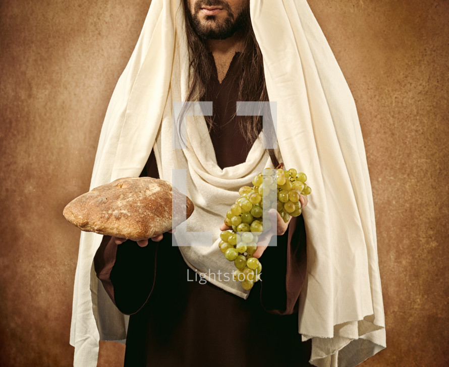 Jesus holding bread and Grapes