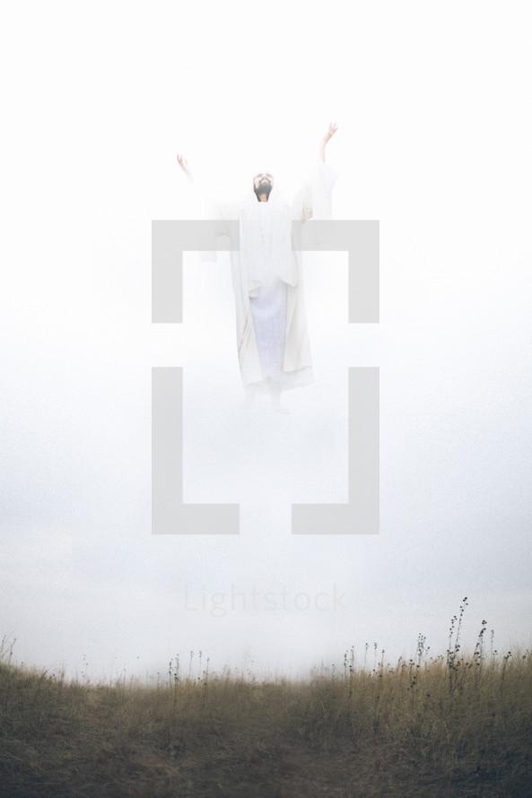Jesus ascending.