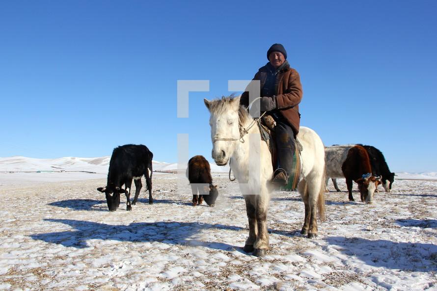 nomadic herdsman on a horse