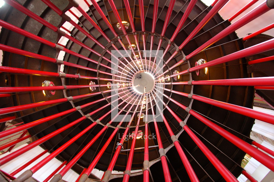 Looking up a spiral staircase.