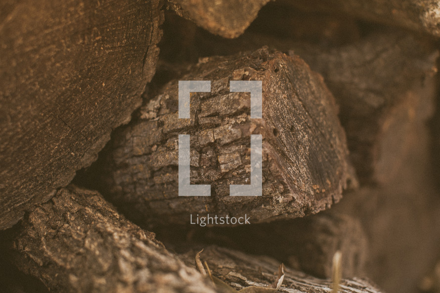 Close up of a stack of firewood