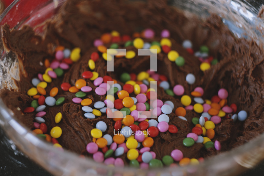 candies in chocolate batter