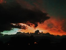 Vibrant red clouds