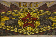 Mosaic tiles Russian hammer and sickle symbol
