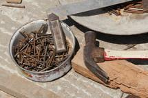 rusty, nails, hammer, crow bar, tools, chisel