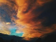 Vibrant orange clouds at sunset