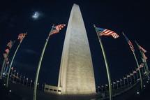 American flags around the Washington Monument