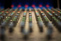 control knobs on a soundboard