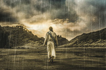 Jesus walking through a rainstorm toward brightly lit clouds.