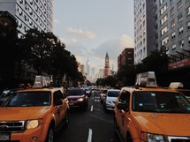 Taxi cabs and traffic in a city