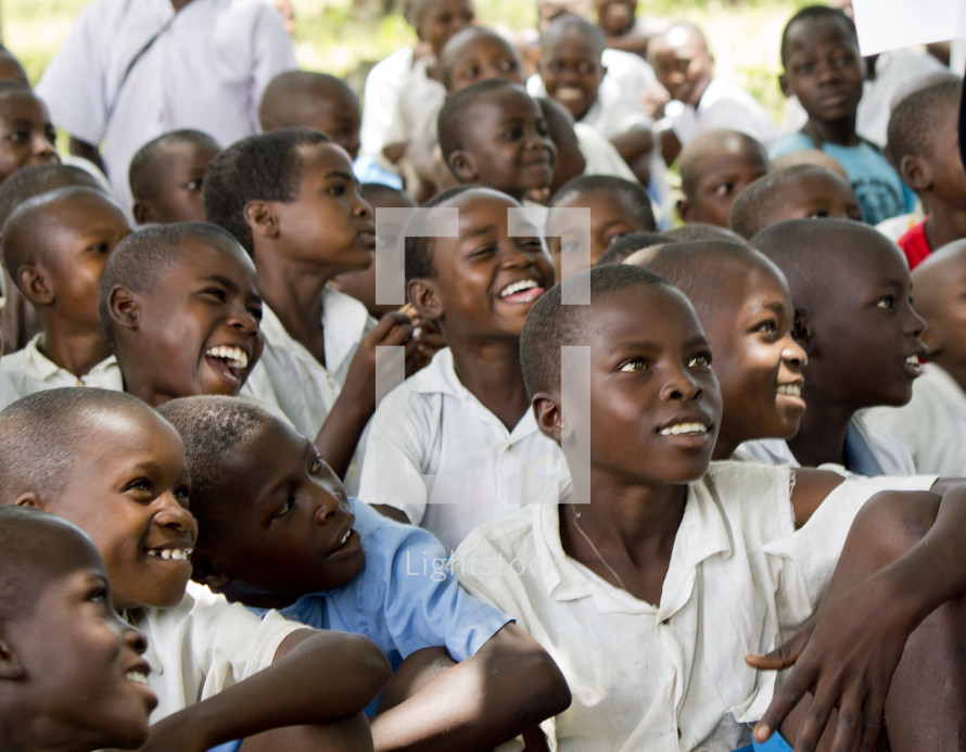 a group of smiling children in Africa