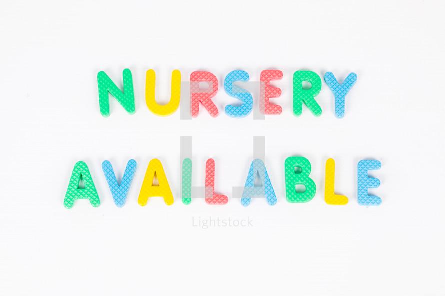 Nursery Available
