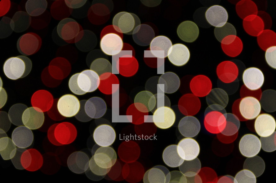 red and white bokeh Christmas lights