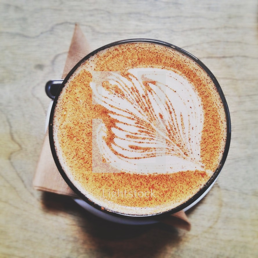 leaf pattern in a latte