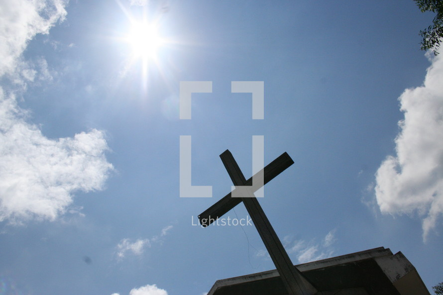 Cross on rooftop