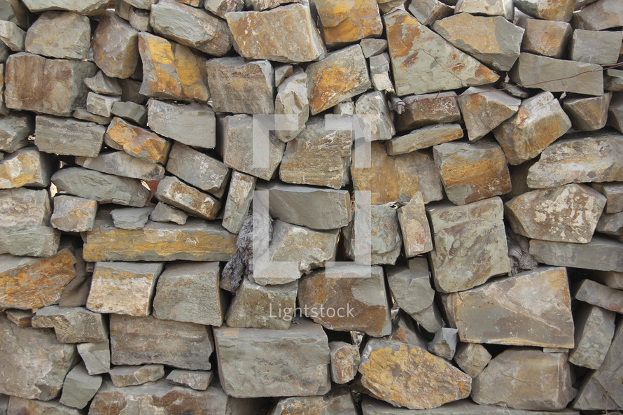 piled rock wall