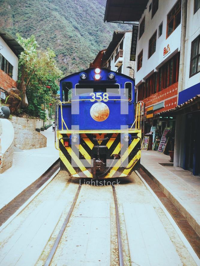 Train on railroad tracks travelling through a village.