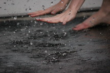 splashing in a puddle