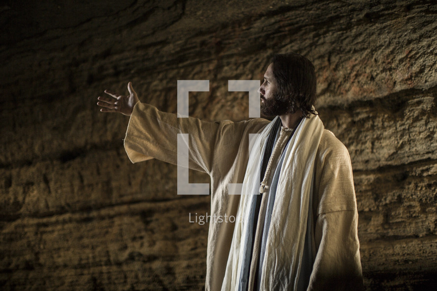 Jesus standing in a tomb