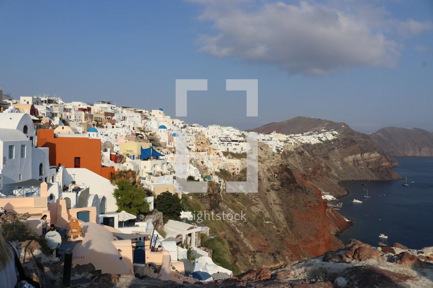 homes on slopes along a shoreline