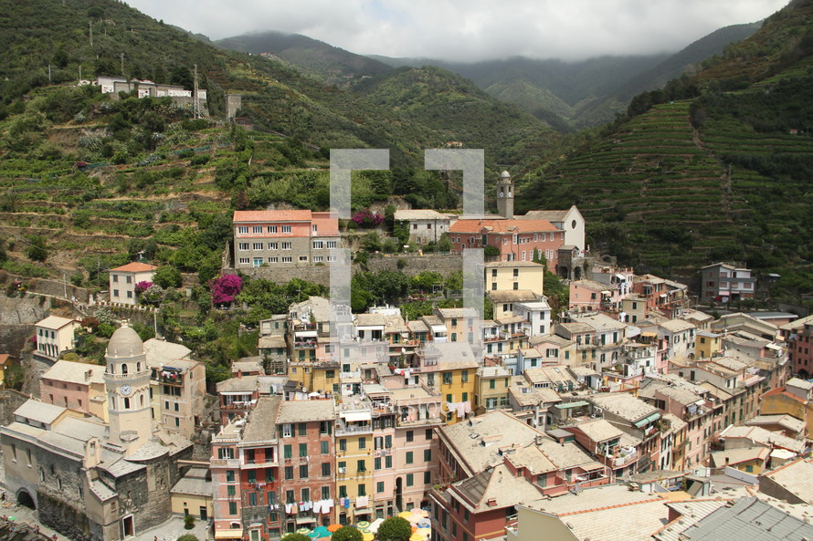 view of an Italian mountainside village