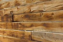 Wall made from wood slats