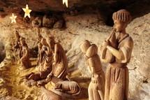 Nativity set in Bethlehem . Baby Jesus, wise men, animals, Mary and Joseph.
