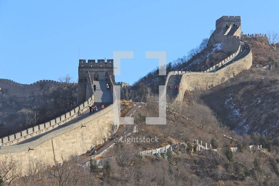 Tourists on Great Wall of China