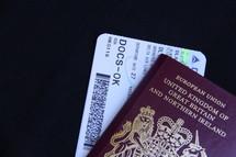 Plane ticket and british UK passport