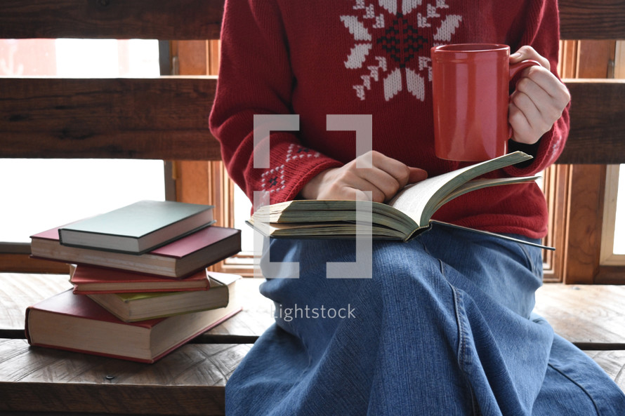 a girl reading books