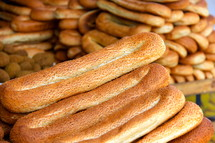 Loaves of Arabic bread on display at the Damascus Gate, Jerusalem