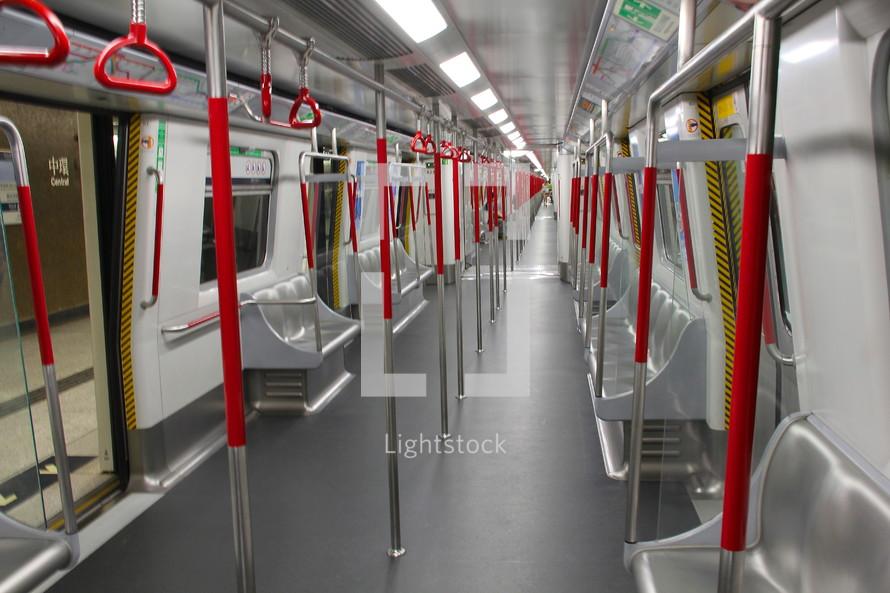 inside a subway underground train