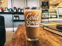 cold brew coffee on a table