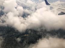 wing of plane in flight