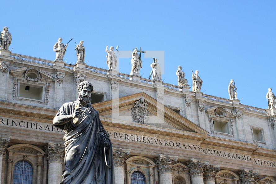 A statue of St. Peter outside of St. Peter's Basilica in Vatican City
