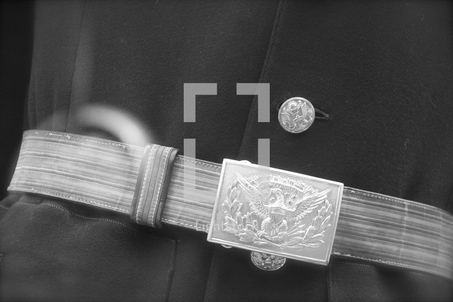buttons and military belt on a uniform