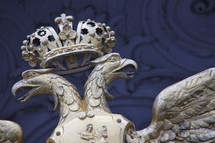 Double headed eagle and crown of the Russian royal family coat of arms